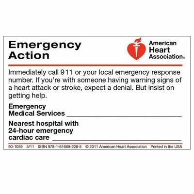 American Heart Association Emergency Action Wallet Card 90-1059 (50/pkg)