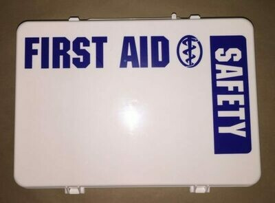 Empty Poly White 36PW boxes First Aid - Safety printed on front panel - Certified (209-008)