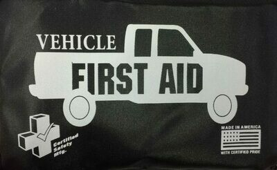 Vehicle First aid kit - Black Nylon Pouch