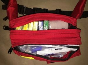 Sports Bag - RED Fanny Pack STOCKED with First aid supplies - Certified (610-002)