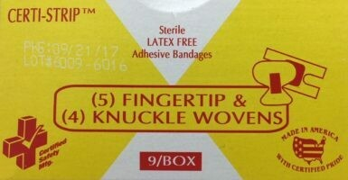 Adhesive Bandages - Woven - (5) Finger Tip & (4) Knuckle  -Certified 210-019  # 689