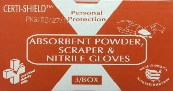 Bodily Fluids Clean up - 2 oz Absorbent Powder for Body Fluids w/ Scraper & Gloves - Certified (216-079)