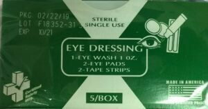 EYE DRESSING #668CG (EYE WASH - EYE PADS - TAPE 210-036