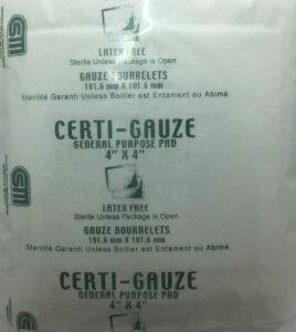 "Gauze Pads - 4"" x 4"" - Certi-Gauze- Certified (231-207) 100/bag"