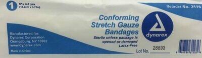 """Gauze Roll - Stretch - 6"""" x 4.1 yards - Sterile - Certified (230-222) 1/pkg"""