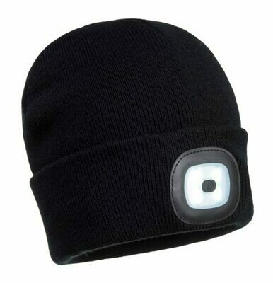 Clothing - Hats - Beanie LED Head Light USB Rechargeable (PORTWEST)