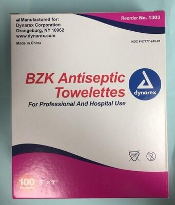 BZK Antiseptic Towelettes - dynarex 1303 - 100/box