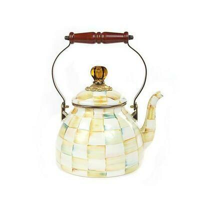 Parchment Check Enamel Tea Kettle - 2qt