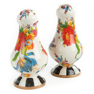 Flower Market Large Salt & Pepper Shakers- White