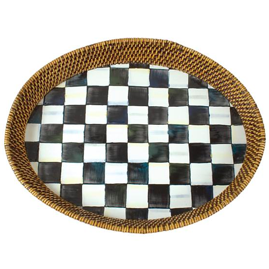 Courtly Check Rattan and Enamel Tray Large
