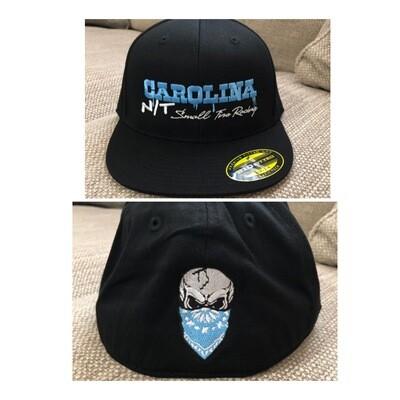 BLACK FLEX FIT BLUE LETTERS HAT