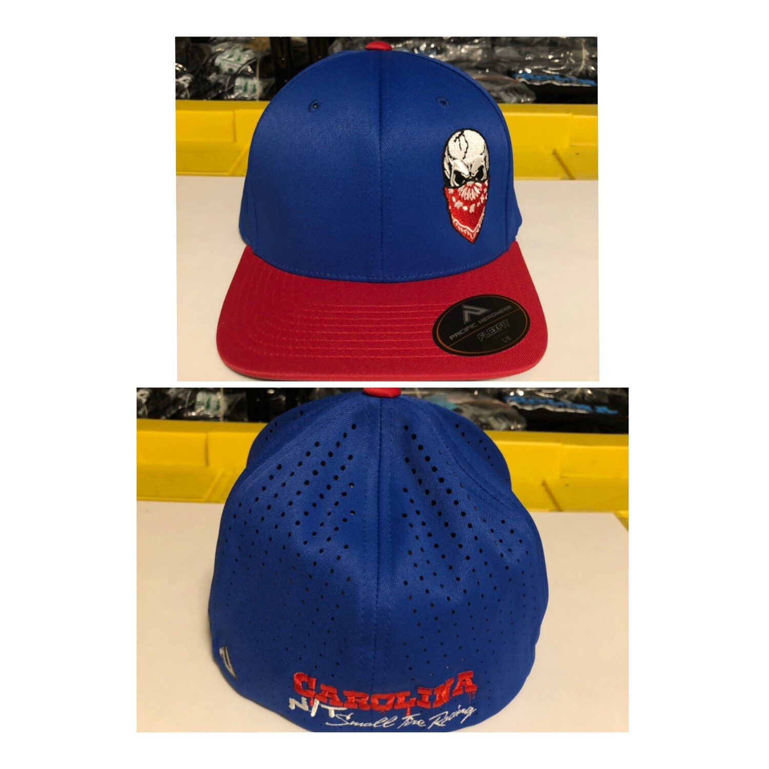 BLUE/RED FLEX FIT RED SKULL HAT