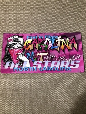 Lady Bandit License plate Decal Pink Graffiti