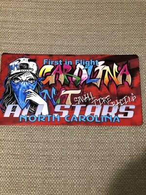 Lady Bandit License plate Red Graffiti Decal