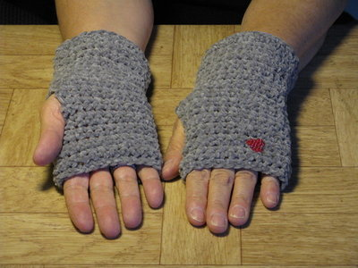 Crochet Grey Finger-less Hand Warmers - Size medium