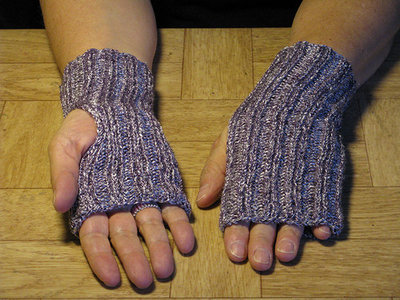 Knit Purple-Silver Finger-less Gloves/Hand Warmers