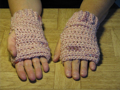Crochet Pink Finger-less Hand Warmers - size large