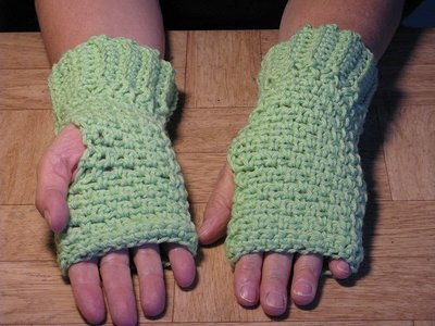 Crochet Green Finger-less Hand Warmers