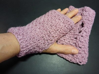 Crochet Pink Finger-less Hand Warmers