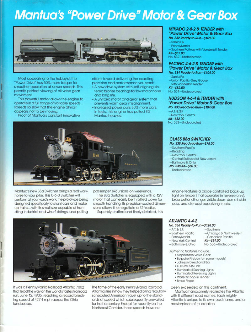 Mantua 336-064 C&NW 4-4-2 Atlantic Locomotive HO Scale