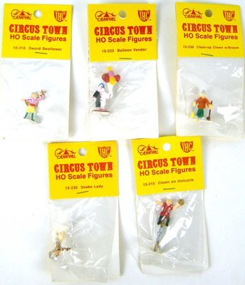 Set #1 of 5 Vintage IHC Circus Town Figures HO Scale