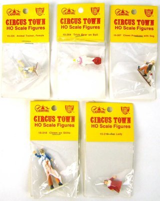 Set #2 of 5 Vintage IHC Circus Town Figures HO Scale