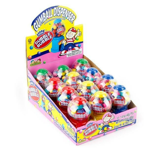 Dubble Bubble Mini Gumball Dispenser 12ct