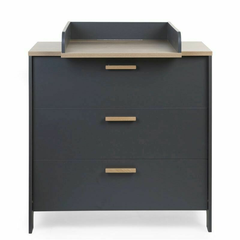 Childhome PARIS DARK OAK/ANTHRA KOMMODE 3 SCHUBLADEN + WICKELAUFSATZ