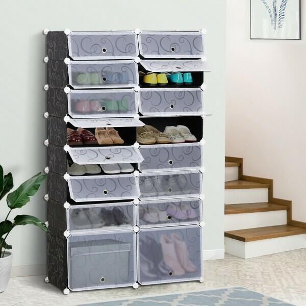 HOMCOM® Garderobe Schuhschrank DIY Schuhregal Regalsystem Garderobenschrank 16 Würfel aus PP Schwarz + Weiss 95 x3 7 x 160 cm