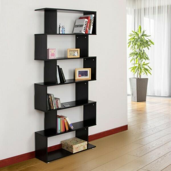HOMCOM® Bücherregal Schwarz Wandregal Raumteiler S-Form 6 Fächer MFC