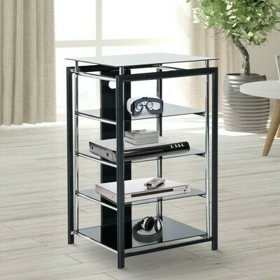 HOMCOM® HiFi Rack Mediaständer 4 Fächer Metall Hartglas Schwarz