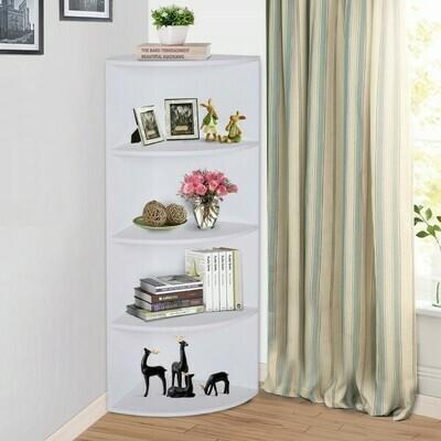 HOMCOM® Eckregal Standregal Bücherregal Dekoregal Holzregal fächerförmig 4 Fächer Weiß 39,5 x 39,5 x 120 cm