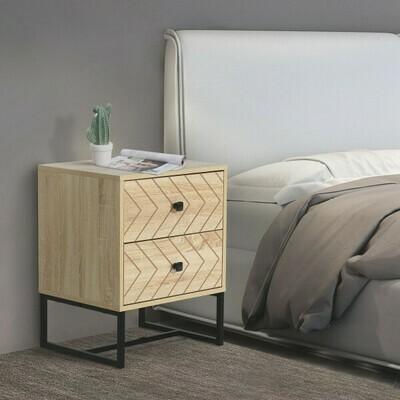 HOMCOM® Kommode Beistellschrank Sideboard 2 Schubladen Spanplatte Natur 48 x 39,5 x 60 cm