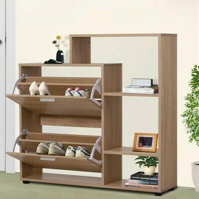HOMCOM® Schuhschrank Schuhregal Schuhkipper Schuhkommode 2 Klappen 20 Schuhe Holz Natur 101,5 x 25,5 x 98 cm