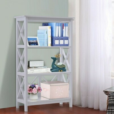 HOMCOM® Standregal Bücherregal Dekoregal 3 Fächer offen MDF Weiß 70 x 30 x 113 cm
