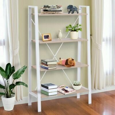 HOMCOM® Standregal Leiterregal Stufenregal Bücherregal Blumenregal Holz Vintage 4 Fächer 80 x 33 x 133,5 cm