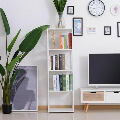 HOMCOM® Standregal Bücherregal Aufbewahrungsregal 4 Staufächer Metall Weiss 40 x 35 x 108 cm