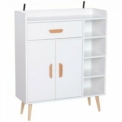 HOMCOM® Standregal Kommode Flurschrank Schublade Schrank 100 kg Belastbarkeit Kiefernholz Weiß 80 x 29,5 x 96 cm