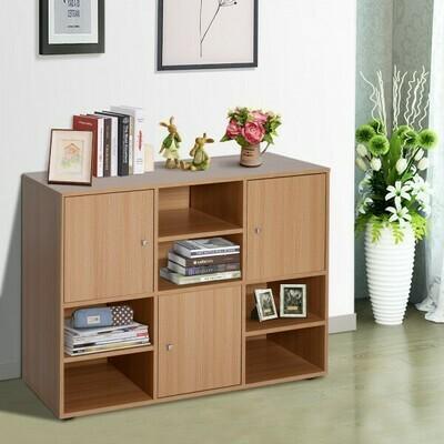HOMCOM® Multi-Fächer Bücherregal Wandregal Standregal Raumteiler Dekoregal Schrank Holz Natur 61,5 x 29,5 x 80 cm