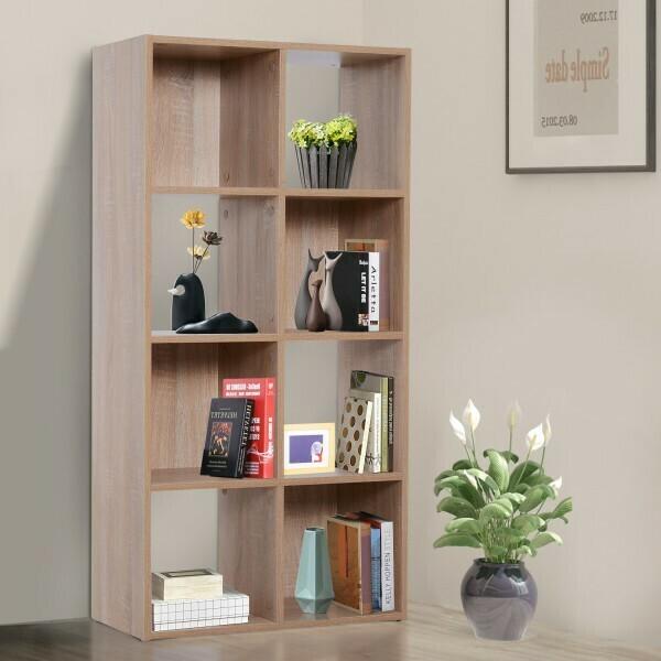 HOMCOM® 8 Fächer Bücherregal Wandregal Standregal Raumteiler Holz Natur 61,5 x 29,5 x 122,5 cm