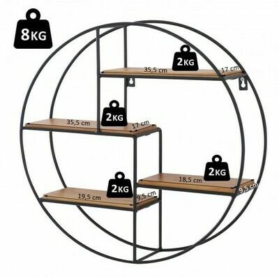 HOMCOM® Wandregal Bücherregal Metallregal Hängeregal Dekoregal rund 4 Etage Metall + Holz Schwarz + Natur ∅45 x 11cm
