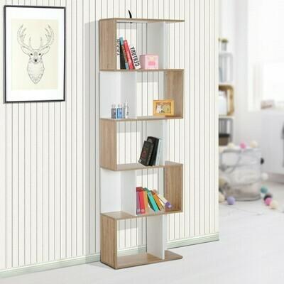 HOMCOM® Bücherregal Holz Wandregal Raumteiler S-Form 5 Ebenen