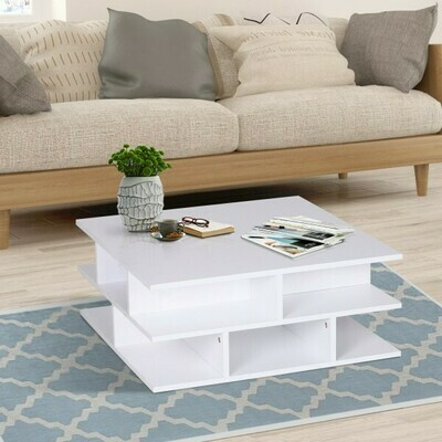 HOMCOM® Couchtisch Beistelltisch Wohnzimmertisch Sofatisch Satztisch 12 x Ablage Holz Weiss 70 x 70 x 29 cm