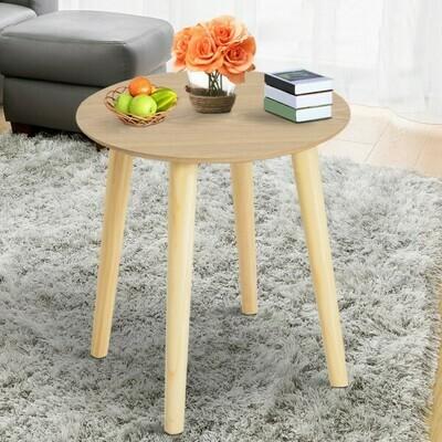 HOMCOM® Beistelltisch Couchtisch Wohnzimmertisch rund aus MDF-Holz+Kiefer natur Φ38,5 x 41,5 cm