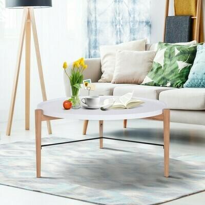 HOMCOM® Couchtisch Wohnzimmertisch Beistelltisch Kaffeetisch Teetisch Nachttisch rund Holz Ø90 x H45 cm