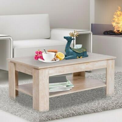 HOMCOM® Couchtisch Beistelltisch Kaffetisch mit Ablage Pinien-Holz 110 x 65 cm