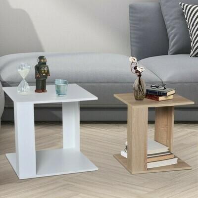 HOMCOM® 2er-Set Beistelltisch Nachttisch Sofatisch Kombinierbar Platzsparend aus Spanplatte Eiche+Weiss 50 x 50 x 48 cm