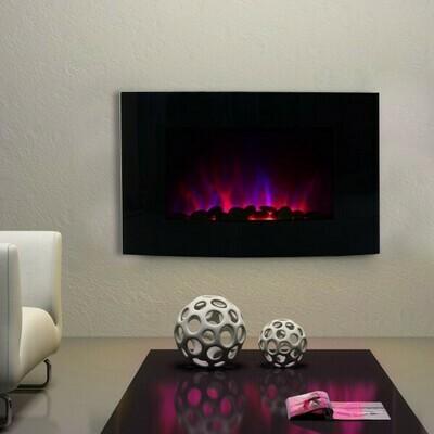 HOMCOM® Elektrokamin Wandkamin 1800 Watt LED Fernbedienung Schwarz