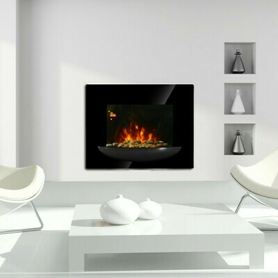 HOMCOM® Elektrokamin Wandkamin 1800 Watt 7 Farben LED Flammenillusion Schwarz