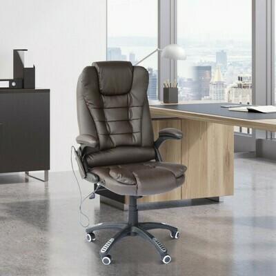 HOMCOM® Massage-Chefsessel mit Wärmefunktion Gaming Stuhl braun